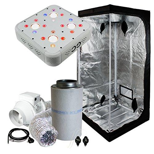 Cultivalley Growbox Komplett-Set 80x80x180cm, 128W GC-4 Profi Vollspektrum Grow-LED, 160m³ Standard Klimaset mit AKF