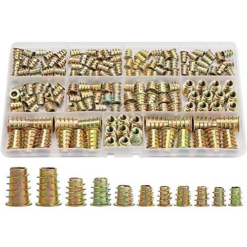 Inserto de tuerca Inserciones roscadas Nueces, kit de herramientas de surtido de inserción de madera, M4 / M5 / M6 / M8 Tornillo de muebles Inserciones de tornillo Sujetador (165 PCS) Para una fijació