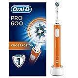 Oral-B PRO 600 CrossAction, Cepillo de dientes eléctrico recargable con tecnología Braun, edición naranja
