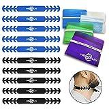 HELAFUN - 14 Piezas - 10 Salvaorejas, Extensores o Sujeta Mascarillas en azul y negro, adiós al dolor de orejas, incluye 4 fundas de bolsillo para guardar tu mascarilla de forma segura.