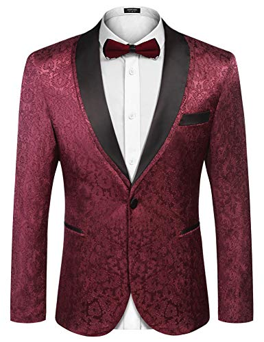 COOFANDY Men's Floral Tuxedo Suit Jacket Slim Fit Dinner Jacket Party Prom Wedding Blazer Jackets Wine Red