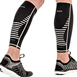 Mava Sports Calf Compression Sleeve Support for Men and Women - Perfect Shin Sleeve for Gym Workout, Running, Leg Cramps,Pain Recovery, Shin Splints and Sore Muscles (Black, Medium)
