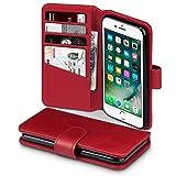 TERRAPIN, Kompatibel mit iPhone SE 2020 / iPhone 8 / iPhone 7 Hülle, [ECHT Leder] Brieftasche Hülle Tasche mit Kartenfächer & Bargeld - Rot