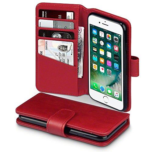 TERRAPIN, Kompatibel mit iPhone 8 / iPhone 7 Hülle, [ECHT Leder] Brieftasche Case Tasche mit Kartenfächer und Bargeld - Rot