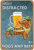 2個 レトロなメタルティンサイン-Dogs&Beerに気を取られて-プラークポスターカフェウォールアートギフト用ヴィンテージティンサイン裏庭バーサイン12 X17インチ メタルプレート レトロ アメリカン ブリキ 看板