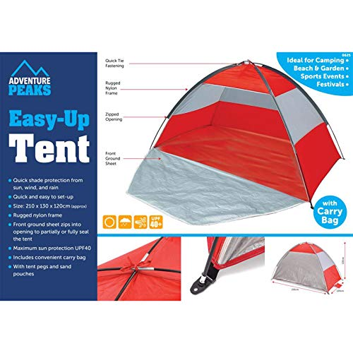 SA Products Easy Up Beach Tent - Folding Portable Shelter Cover from Sun, Wind, Rain - Quick Set Up, UPF40 Sun Protection - Equipment for Outdoor Camping, Fishing Festival - Carry Bag, 210x130x120 cm