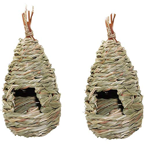 Katigan 2 Pack Grass Bird Hut House House Bird Suspendus Nid D'Oiseau Fibre Tissés à la Main Fibre Maison Roosting Poche, Bird Hideaway de Predators Fournit Un Abri