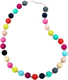 Sensory Chew Necklace for Boys Girls, Silicone Chewy Jewelry for Autism ADHD SPD Kids Oral Motor Chewing Biting Teething Needs, Fidget Anxiety Chewable Necklace (Rainbow)