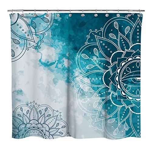 Sunlit Design Wasserfarben Bohemian Stoff Duschvorhang Linienzeichnungen Mandala Badezimmer Dekoration Boho Duschvorhänge Blaugrün