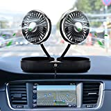 Car Cooling Fan Upgrade Dual Head Foldable Automobile Vehicle Fan Powerful Quiet USB Car Amplifier Cooling Fans 3 Speeds /360 Degree Adjustable Electric Car Fan for Vehicles, Home or Office