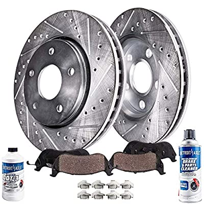 Detroit Axle - Front Drilled and Slotted Disc Brake Kit Rotors w/Ceramic Pads w/Hardware & Brake Kit Cleaner & Fluid for 97-01 Lexus ES300 - [98-04 Toyota Avalon] - 97-01 Camry V6 - [99-03 Solara]