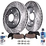 Detroit Axle - 296mm Front Drilled & Slotted Rotors + Ceramic Brake Pads With Hardware + Brake Cleaner & Fluid Replacement for Infiniti G35 Nissan 350Z - 6pc Set