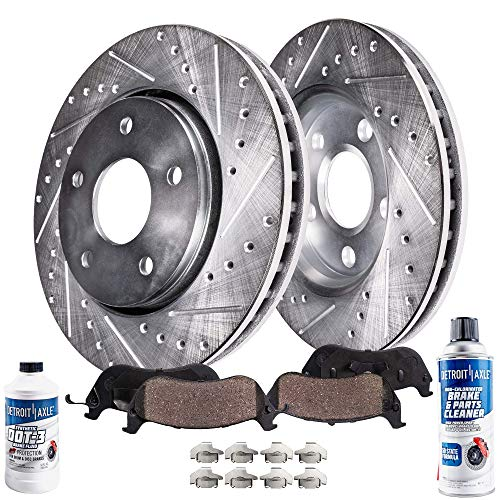 Detroit Axle - Pair (2) Rear Drilled and Slotted Brake Kit Rotors w/Ceramic Pads for 2006 BMW 330i 330xi E90 - [2007-2010 335i 335xi] - 2011-2013 335 E92 E93 - [2013-2015 X1 xDrive 35i]