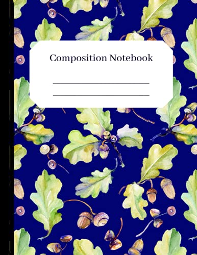 Fall Acorns- Beautiful Composition Notebook: Seasonal Wide Ruled lined notebook 120 pages 8.5 x 11 for kids and adults - fun school essentials