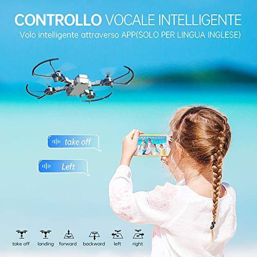 SNAPTAIN A10 Mini Drone con Telecamera HD 720P Pieghevole FPV Controllo Vocale, Controllo Gesti, Volo Traiettoria, Volo Circolare, Rotazione ad Alta velocità, 3D Filp, Sensore G, modalità Senza Testa
