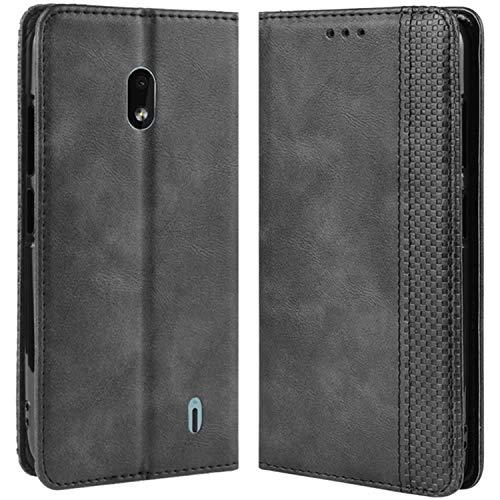 HualuBro Handyhülle für Nokia 2.2 Hülle, Retro Leder Brieftasche Tasche Schutzhülle Handytasche LederHülle Flip Hülle Cover für Nokia 2.2 2019 - Schwarz