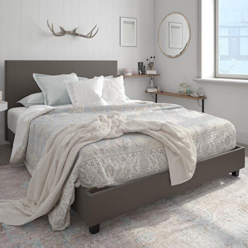 DHP Carley Upholstered, Queen Size Frame, Gray Faux Leather Bed