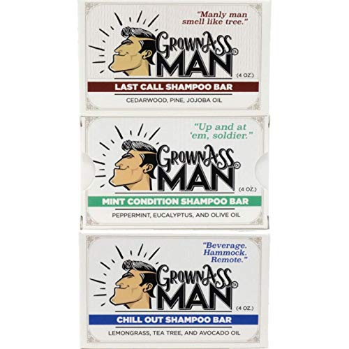 Grown Ass Man Co. - Solid Shampoo Bar Rich Lather 3 in 1: Hair, Beard & Body Wash - Plastic Free & Eco-Friendly, Natural & Organic Clean for All Hair Types, 4oz Bar (Variety, 3-Pack)