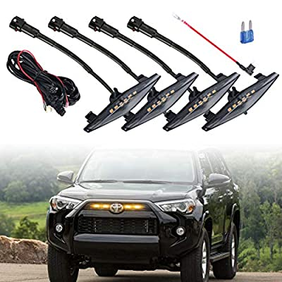 4 PCS Led Smoked Grille Lights Kits for 4Runner TRD Pro 2014-2019, Including SR5, TRD off-road, Limited, TRO Pro ?Smoked shell amber lights?