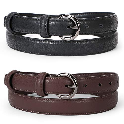 WERFORU Women Leather Belt Waist Skinny Dress Belts Solid Pin Buckle Belt for Jeans Pants,Black+Coffee, Pants Size 24-29 inches