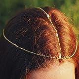 Jovono Cadena de cabeza simple con diadema de cuentas, accesorios para el pelo de boda para mujeres y niñas