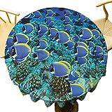 Ocean Decor Collection - Mantel redondo para decoración de la Escuela de Polvos Pescados en el Arrecife de Coral Maldivas Fotografía para familiares Aqua Blue Yellow Diámetro 71 pulgadas