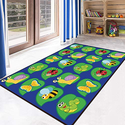 JTYX CARPETS Children Play Mat Kids Game Carpet Cartoon Animal Insect Children Room Decoration Rug,Blue,60X90CM