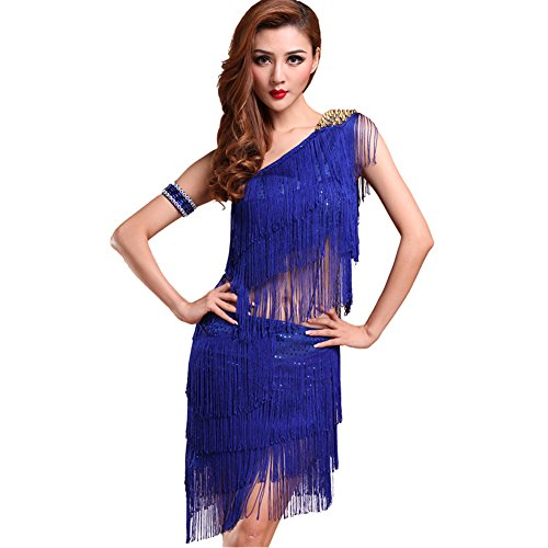 Moresave Mujer Un Hombro Paillette Borla Latin Salsa Danza Vestido Top & Rock, Mujer, Color Azul Marino, tamaño Large
