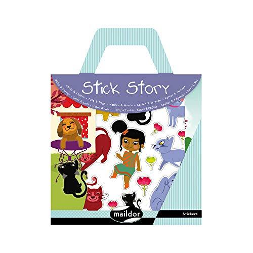 Maildor 566405O - Une valisette Stick'story comprenant 2 décors + 4 planches de stickers repositionnables, Chiens et chats (64 stickers)