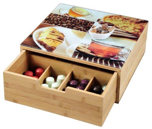 Kesper Box mit Schublade, Bambus, Holz, braun, 34 x 30 x 8 cm