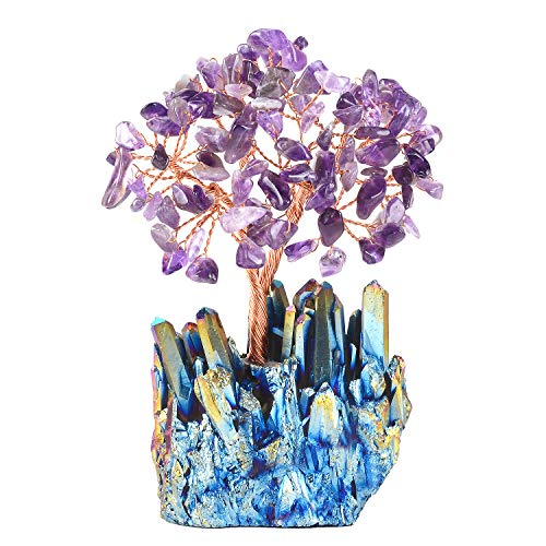 MASGEMES Amethyst Crystal Tree, Natural Gemstone Crystal Tree with Quartz Cluster Titanium Crystals Base Bonsai Money Tree for Wealth and Luck
