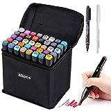 HanQix - Rotuladores de colores Grafitti 41 de colores, Twin Tip, marcadores para estudiantes, manga, artista, Sketch para Sketch Marker Pens Set con bolsa de almacenamiento