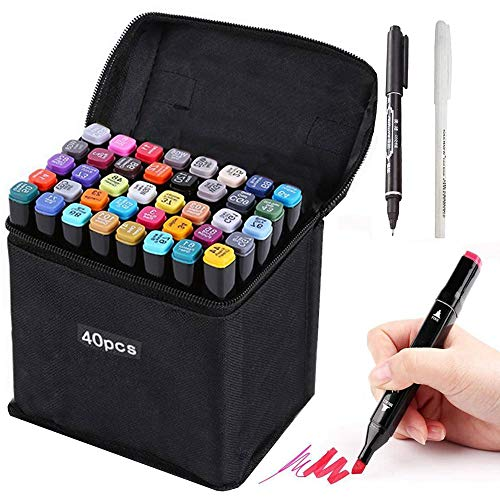 HanQix 41 Farben Marker Stifte Grafitti Farbige Twin Tip Textmarker für Studenten Manga Kunstler Sketch für Sketch Marker Pens Set Mit Aufbewahrungstasche