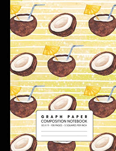 Graph Paper Composition Notebook: Quad Ruled 5 Squares Per Inch for Math & Science - Coconut Water Yellow
