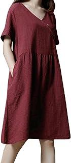 しあわせ宜蘭 ワンピースドレス レディース夏ゆったり上品女性半袖チェック柄のポケットコットンリネンルーズカジュアルドレス