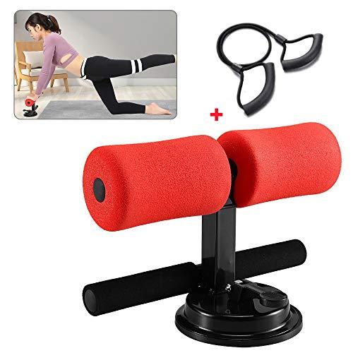 EZSMART Tragbare sit up trainingsgerät, Selbstsaug höhenverstellbare Bauchmuskelübungen, Bauchtrainer sit up assistent mit bequemem Schaumstoff für Sit-up, Push-up-Heim-Fitnessstudio (rot)