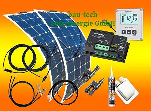 200 Watt Flexi Wohnmobil Camping Wohnmobil Solaranlage mit Votronic Laderegler und Solarcomputer, 12 Volt SET, von bau-tech Solarenergie GmbH