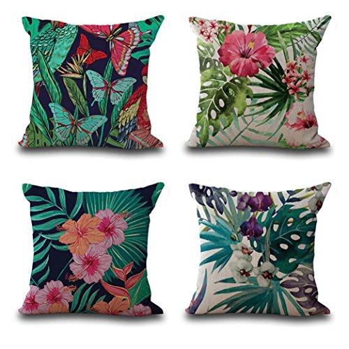 Fossrn Funda de Cojín 45x45 Vintage Flor Hojas Tropicales Funda de almohada Fundas de Colchón Home Deco (4PC/Set)