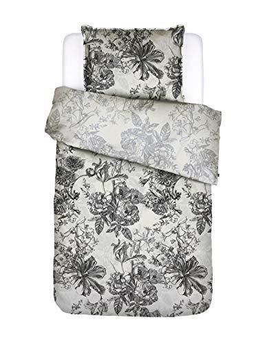 ESSENZA Bettwäsche Vivienne Blumen Baumwollsatin Weiß, 155X220 + 1 X 80X80 cm