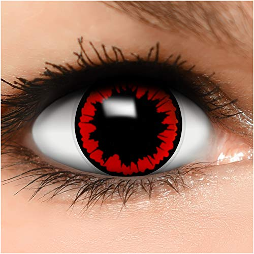 Farbige Kontaktlinsen Parasit in rot + Behälter - Top Linsenfinder Markenqualität, 1Paar (2 Stück)
