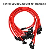 10.5 MM High Performance New Spark Plug Wire Set for Chevy AM General Isuzu HEI SBC BBC 350 383 454 Electronic (Red)