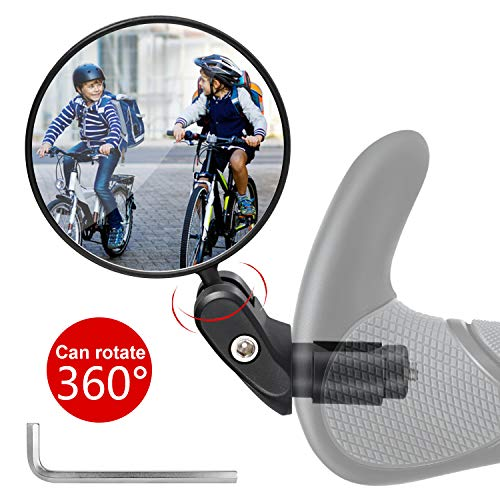 Vintoney Espejos para Bicicletas, 360° Adjustable Espejo de Bicicleta para Manillar, retrovisor Bicicleta Espejo Retrovisor Espejos retrovisores Accesorios para Bicicletas-1 PCS