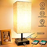 Touch Table Lamp, 3-Way Dimmable Touch Lamp Bedside Lamp with 2 USB Charging Ports and 2 AC Outlets, Modern Desk Lamp Nightstand Bedroom Lamp for Bedroom Living Room Reading Office, LED Bulb Included