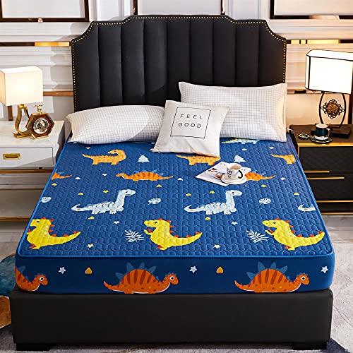 FJMLAY Sábanas ajustablesperfecto para el colchón,Sábanas Gruesas Acolchadas Impresas Impermeables, Almohadilla de protección Antideslizante para Dormitorio, apartamento, Hotel-Blue_2_150cmx200cm
