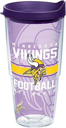 Tervis 1180629 NFL Minnesota Vikings Gridiron Tumbler with Wrap and Royal Purple Lid 24oz, Clear