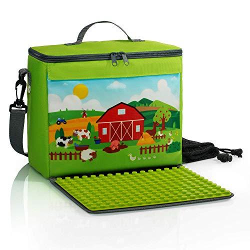 Baustein-Tasche mit ausklappbarer Bauplatte | kompatibel mit Lego Duplo und Anderen Bausteinen großer Größe | 2 Netzbeutel | Bauernhofmotiv | farmgrün