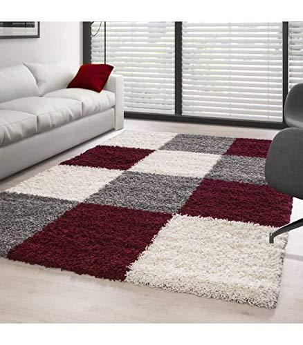 Carpettex Teppich Tapis Shaggy Pile Longue Designe à Carreaux Rouge-Blanc-Gris - 120x170 cm