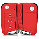 kwmobile Carcasa Compatible con VW Golf 7 MK7 Llave de Coche de 3 Botones - Funda Protectora de Silicona - Case para Mando de Auto en Rojo