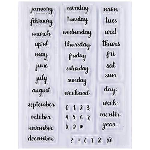 KWELLAM Mes número de semana diciembre lunes fin de semana sellos transparentes para hacer tarjetas decoración y DIY Scrapbooking