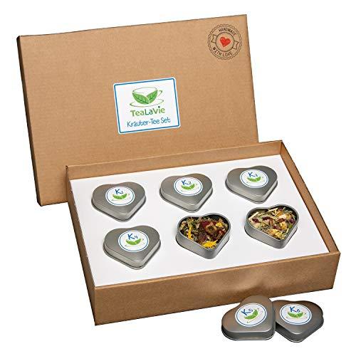 TEALAVIE - 6er Tee-Geschenke-Set - Kräutertee lose | edle Herz-Teedose für Teeliebhaber | ideal für Dankeschön Geschenke | 45g loser Kräuter Tee Mischung Mix